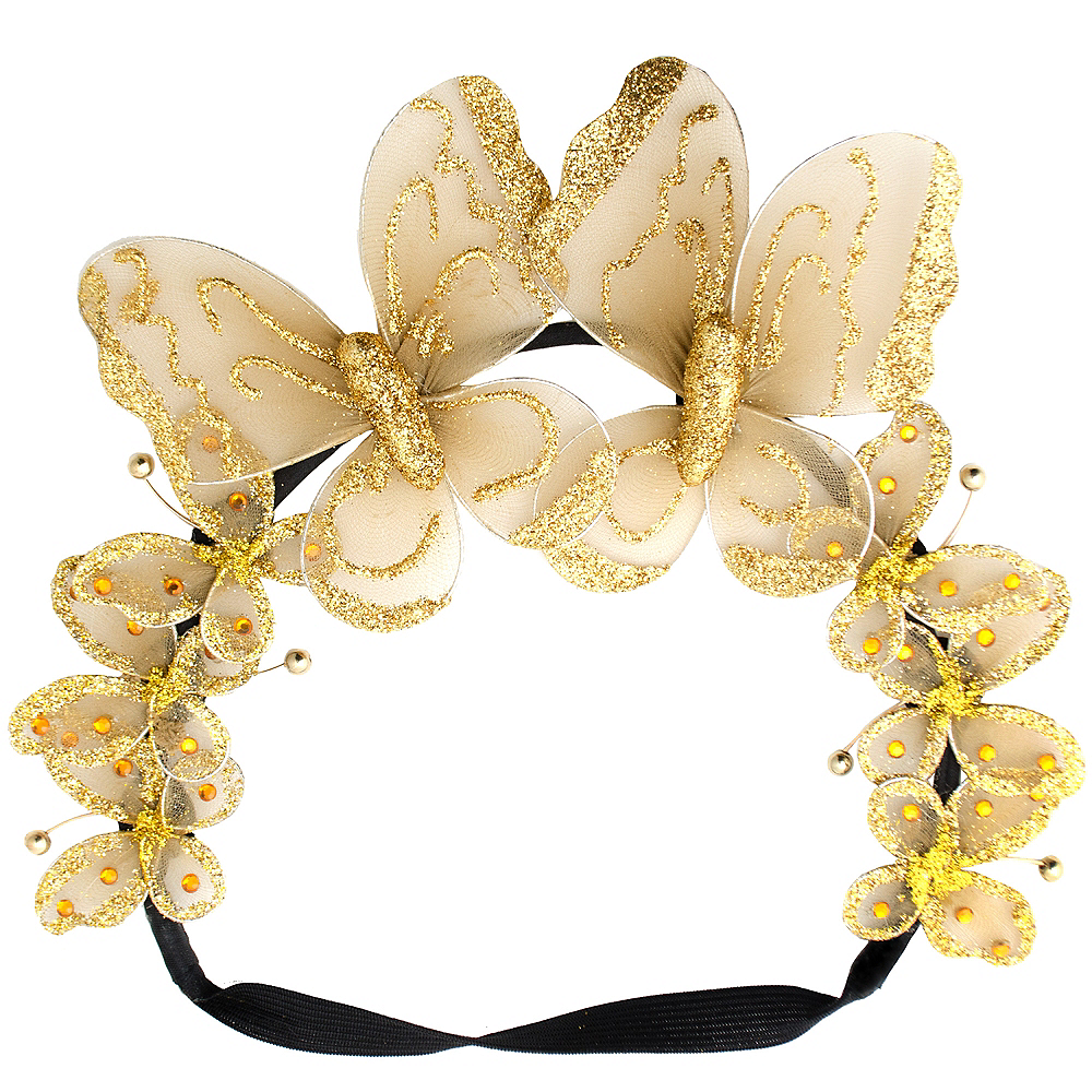 Glittery Golden Butterfly Headpiece Image #2