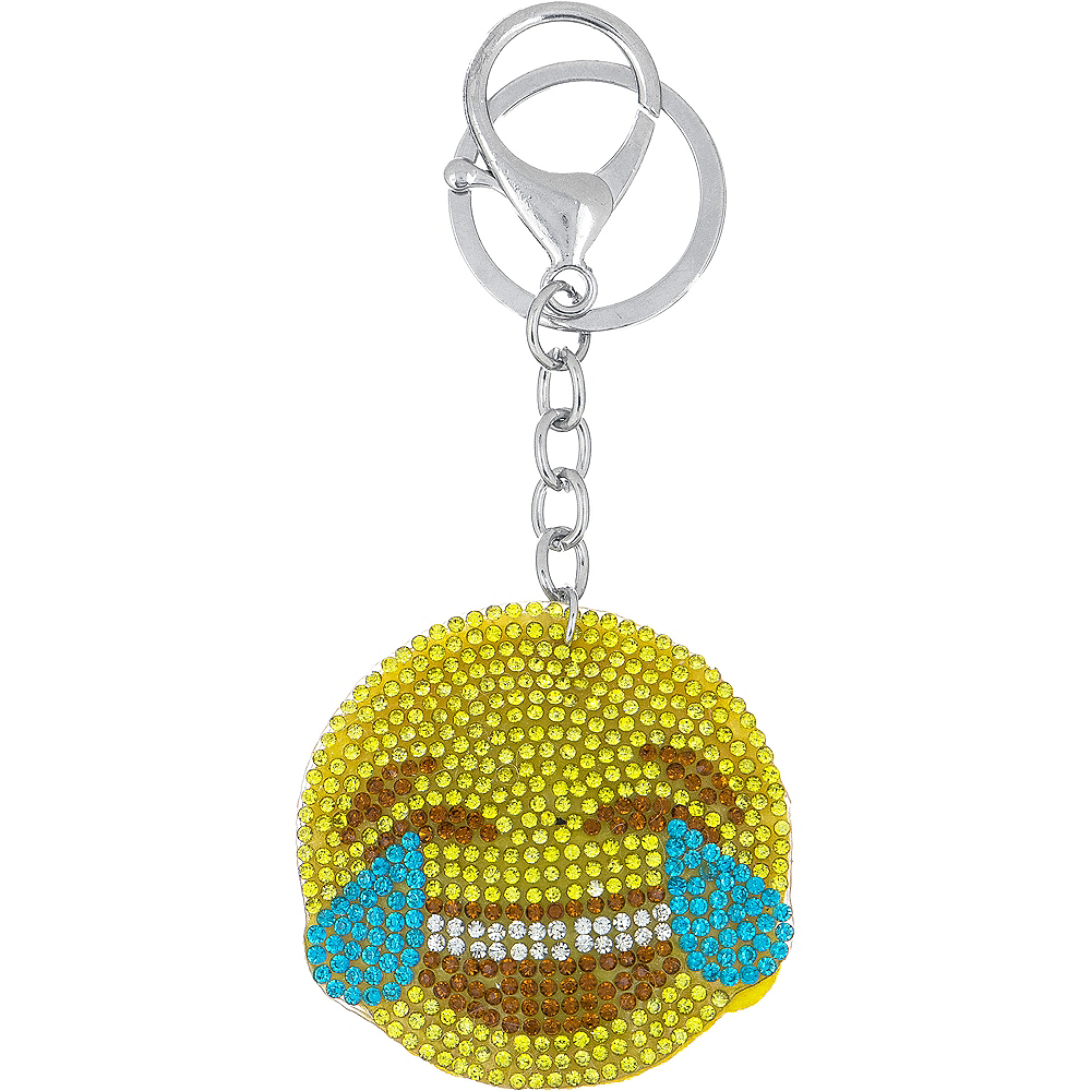 Rhinestone Laughing Crying Smiley Keychain Image #1