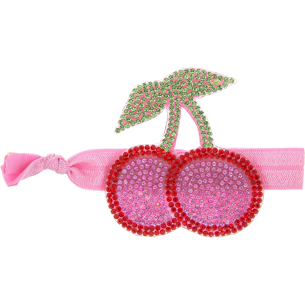 Rhinestone Cherry Ribbon Hair Tie Image #1