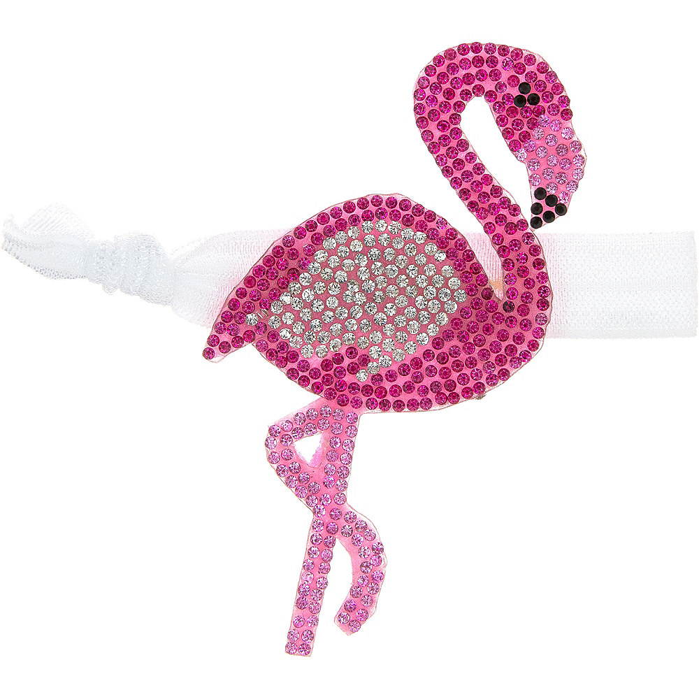 Rhinestone Flamingo Ribbon Hair Tie Image #1