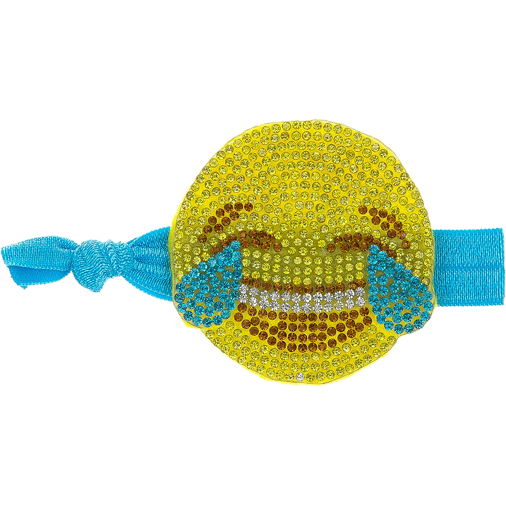 Rhinestone Laughing Crying Smiley Ribbon Hair Tie Image #1