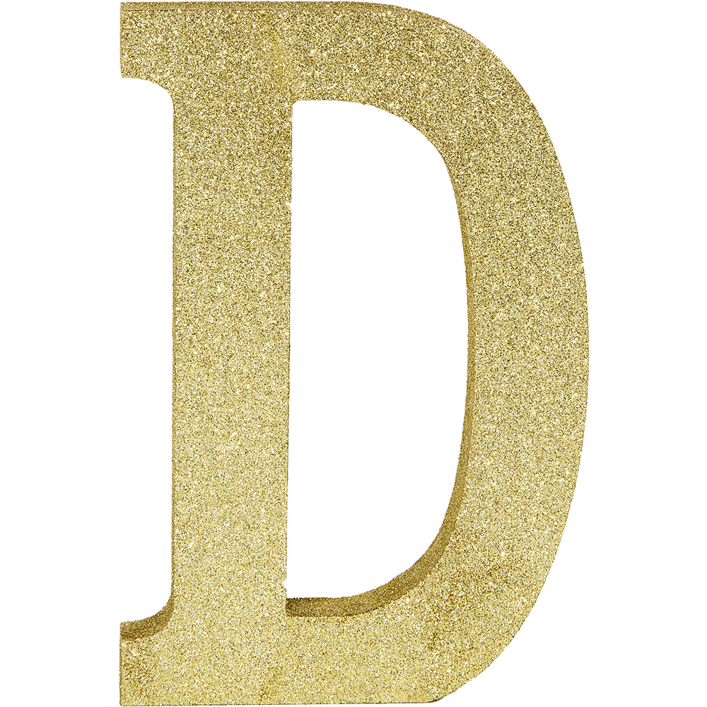 Glitter Gold Letter D Sign 6in x 9in | Party City