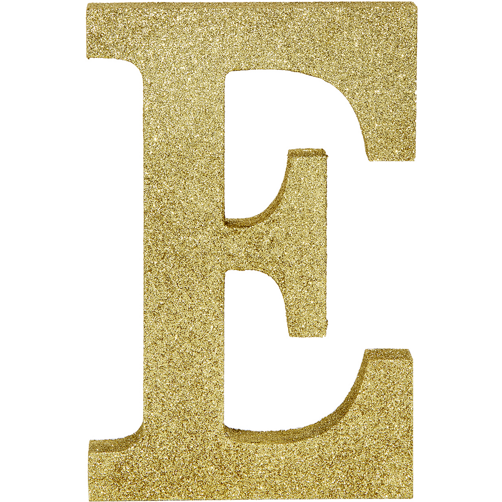 Glitter Gold Letter E Sign 6in x 9in | Party City