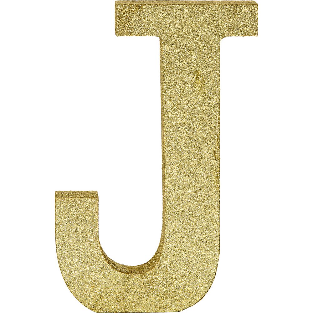 Glitter Gold Letter J Sign Image #1