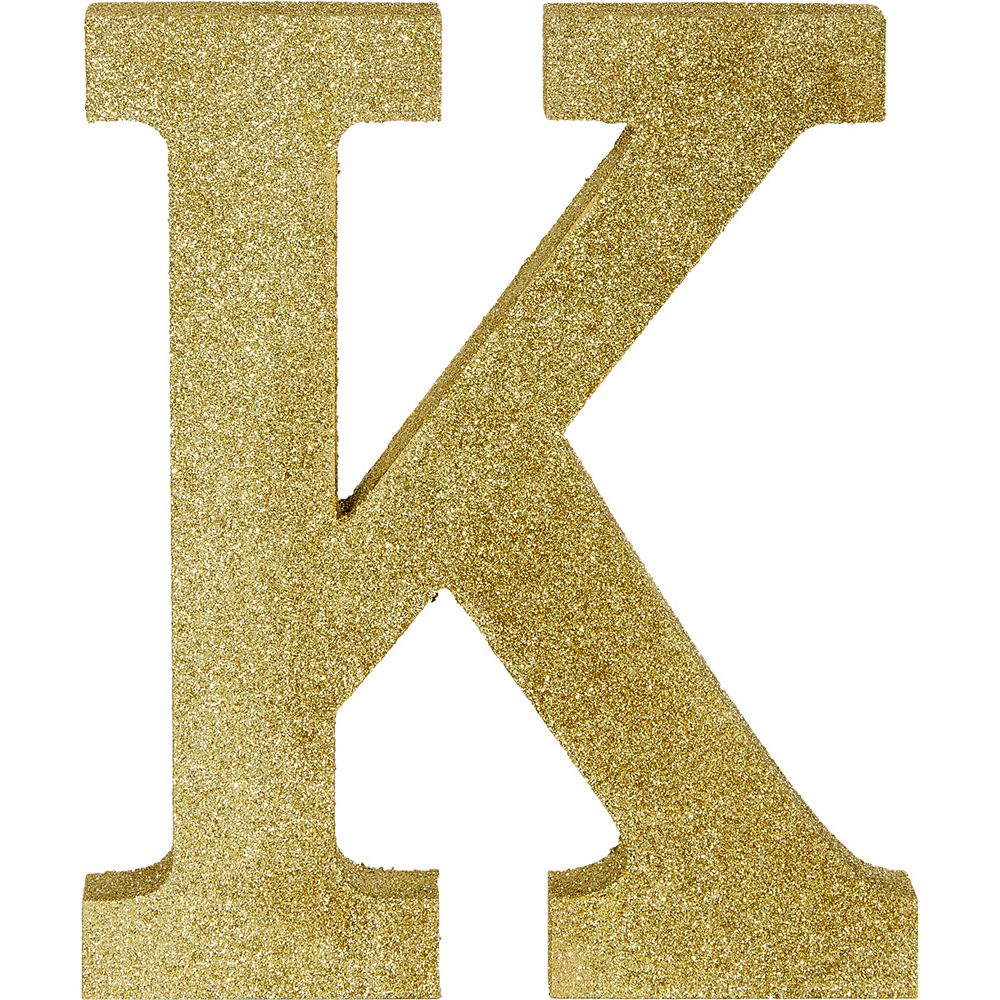Glitter Gold Letter K Sign Image #1
