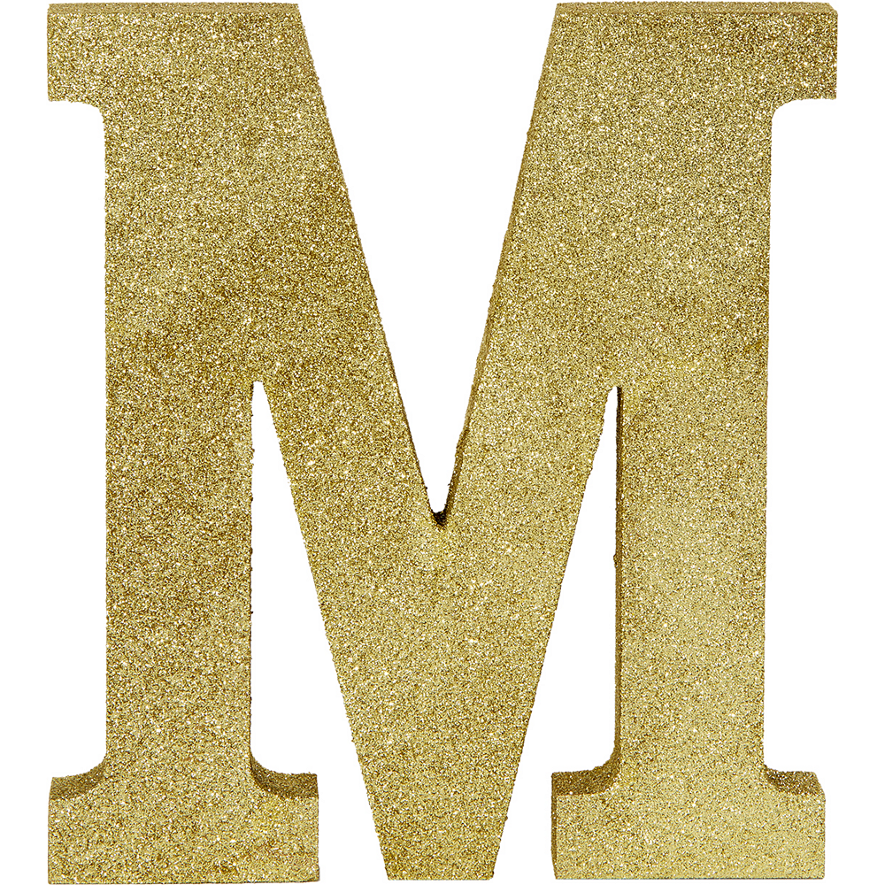 Glitter Gold Letter M Sign 8in X 9in Party City