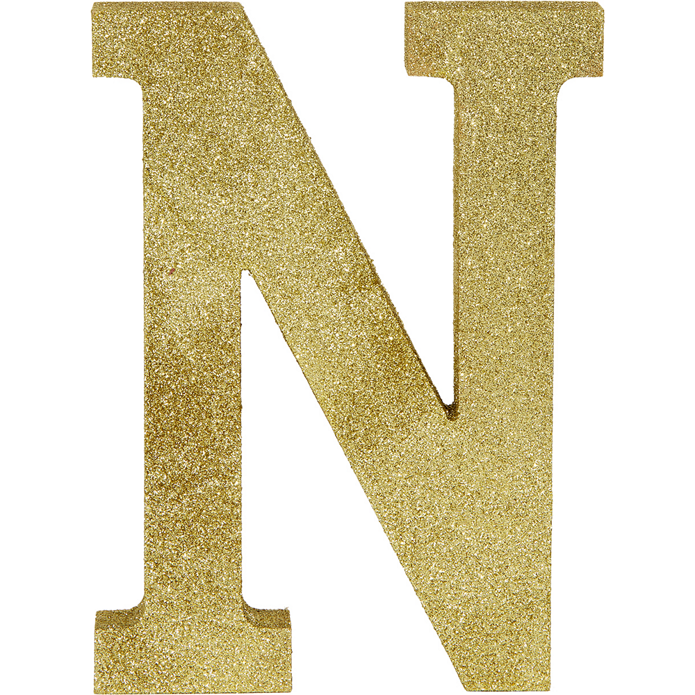Glitter Gold Letter N Sign Image #1