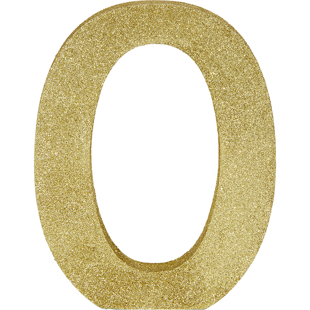 Glitter Gold Letter O Sign 7in x 9in | Party City