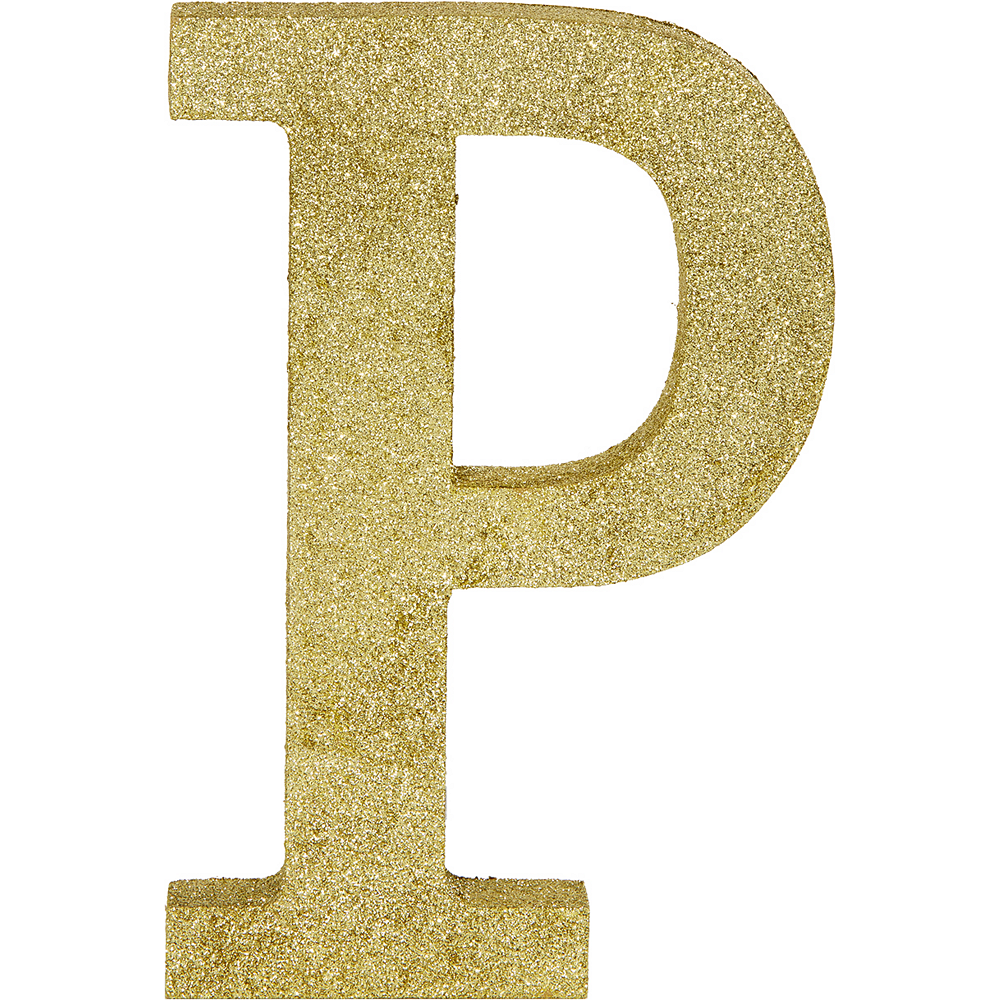 Glitter Gold Letter P Sign Image #1