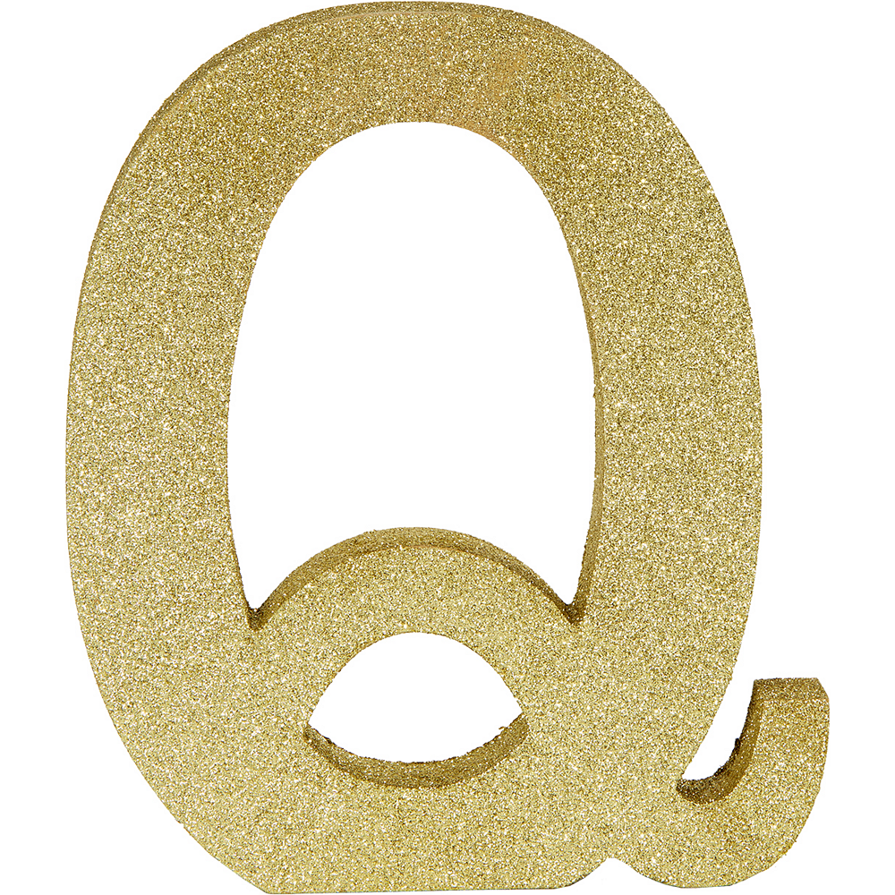 Glitter Gold Letter Q Sign Image #1