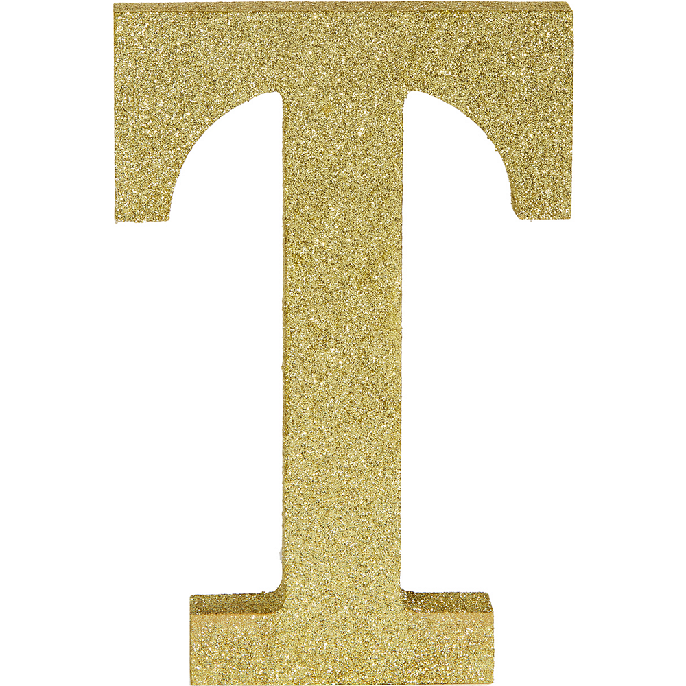 Glitter Gold Letter T Sign Image #1