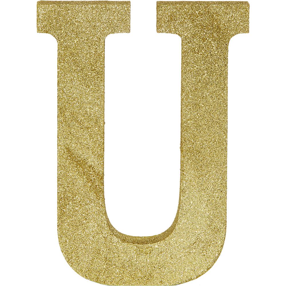 Glitter Gold Letter U Sign Image #1