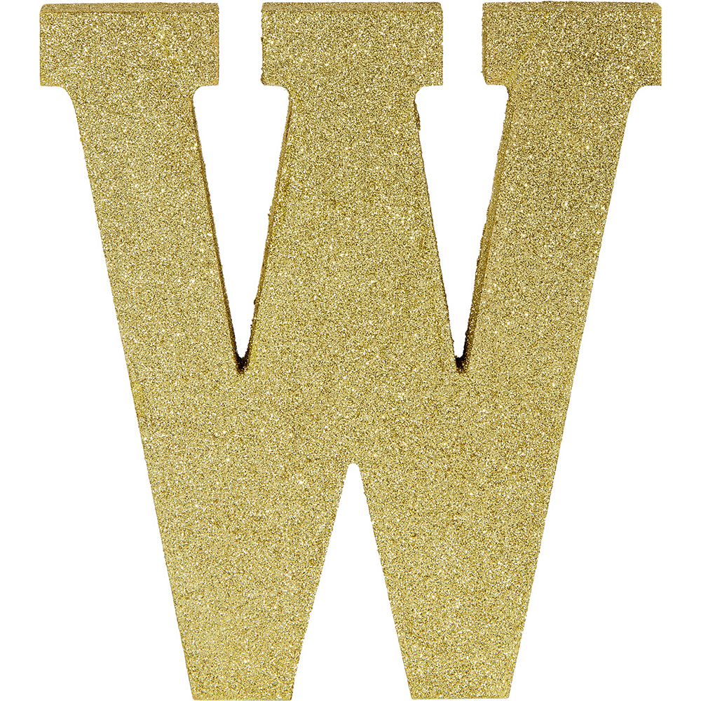Glitter Gold Letter W Sign Image #1