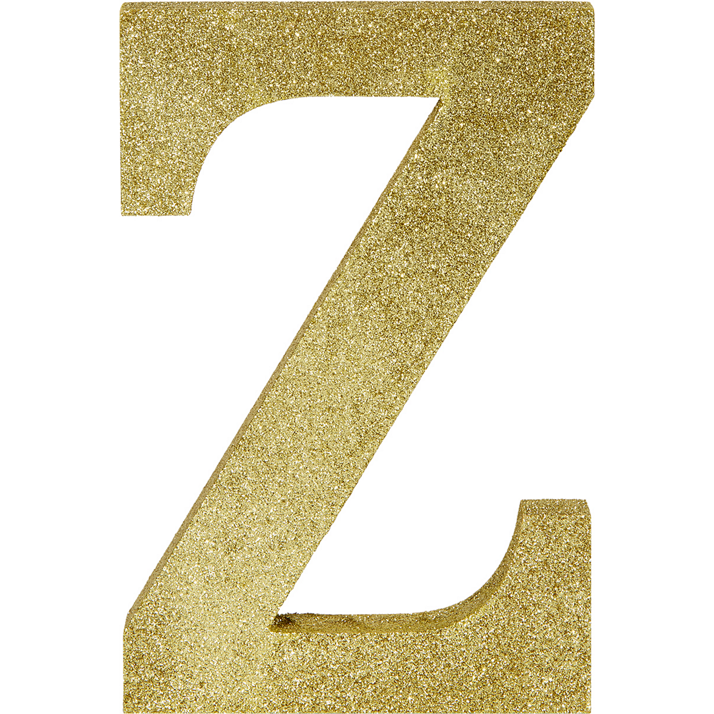 Glitter Gold Letter Z Sign 6in x 9in | Party City