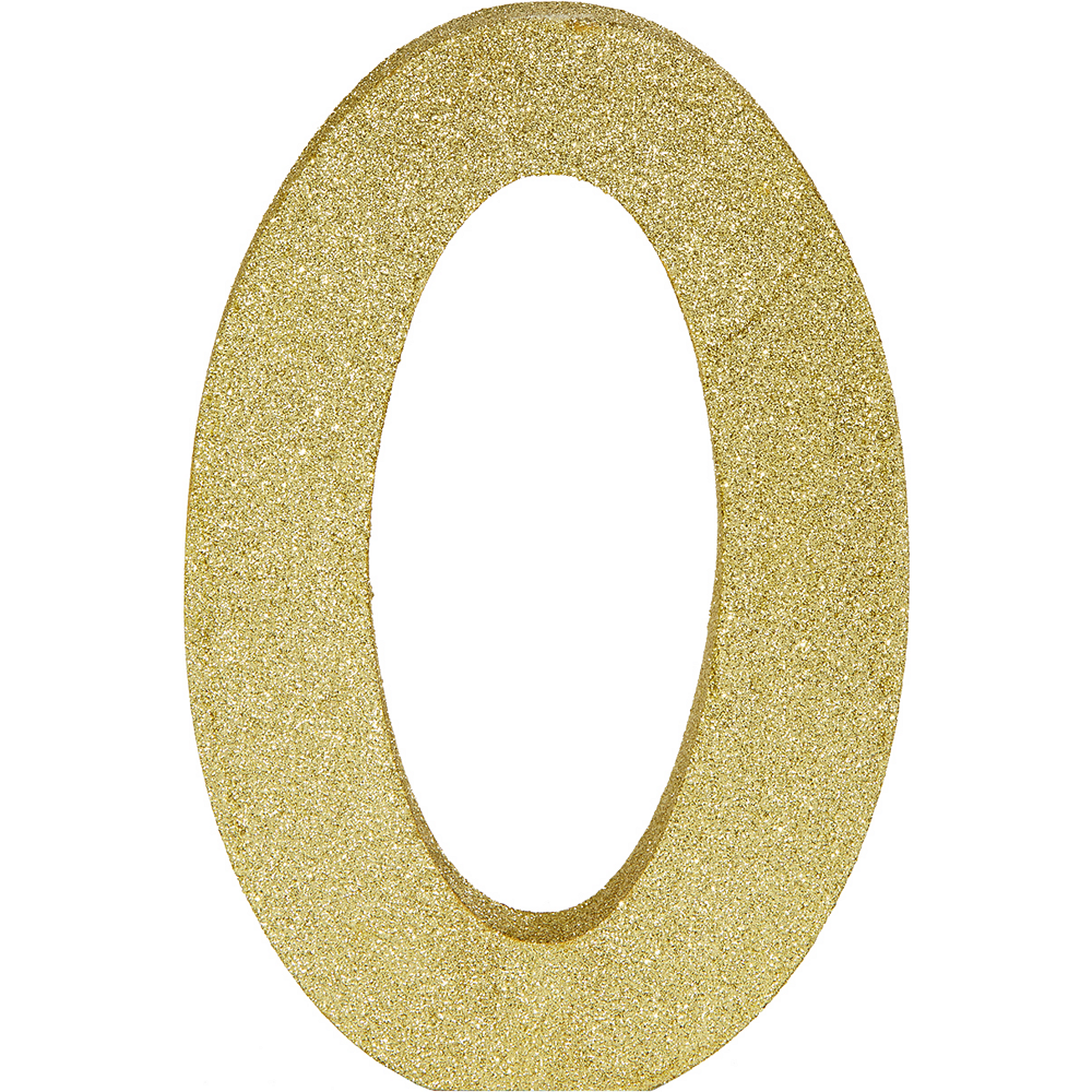 Glitter Gold Number 0 Sign Image #1