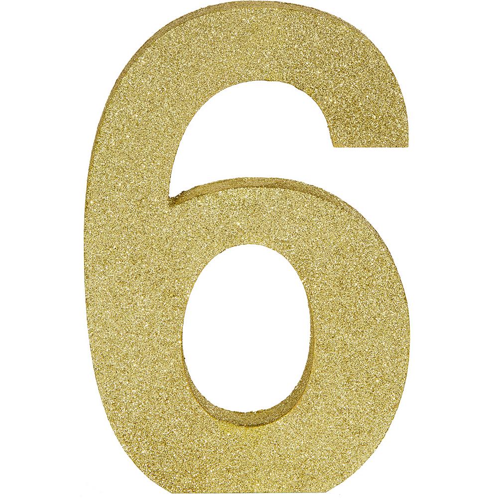 Glitter Gold Number 6 Sign Image #1