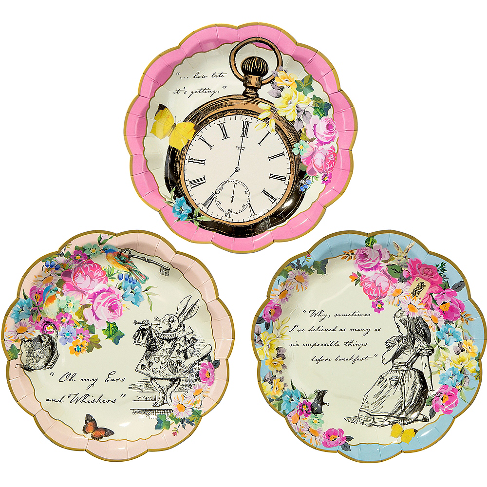 Alice in Wonderland Dessert Plates 12ct Image #1