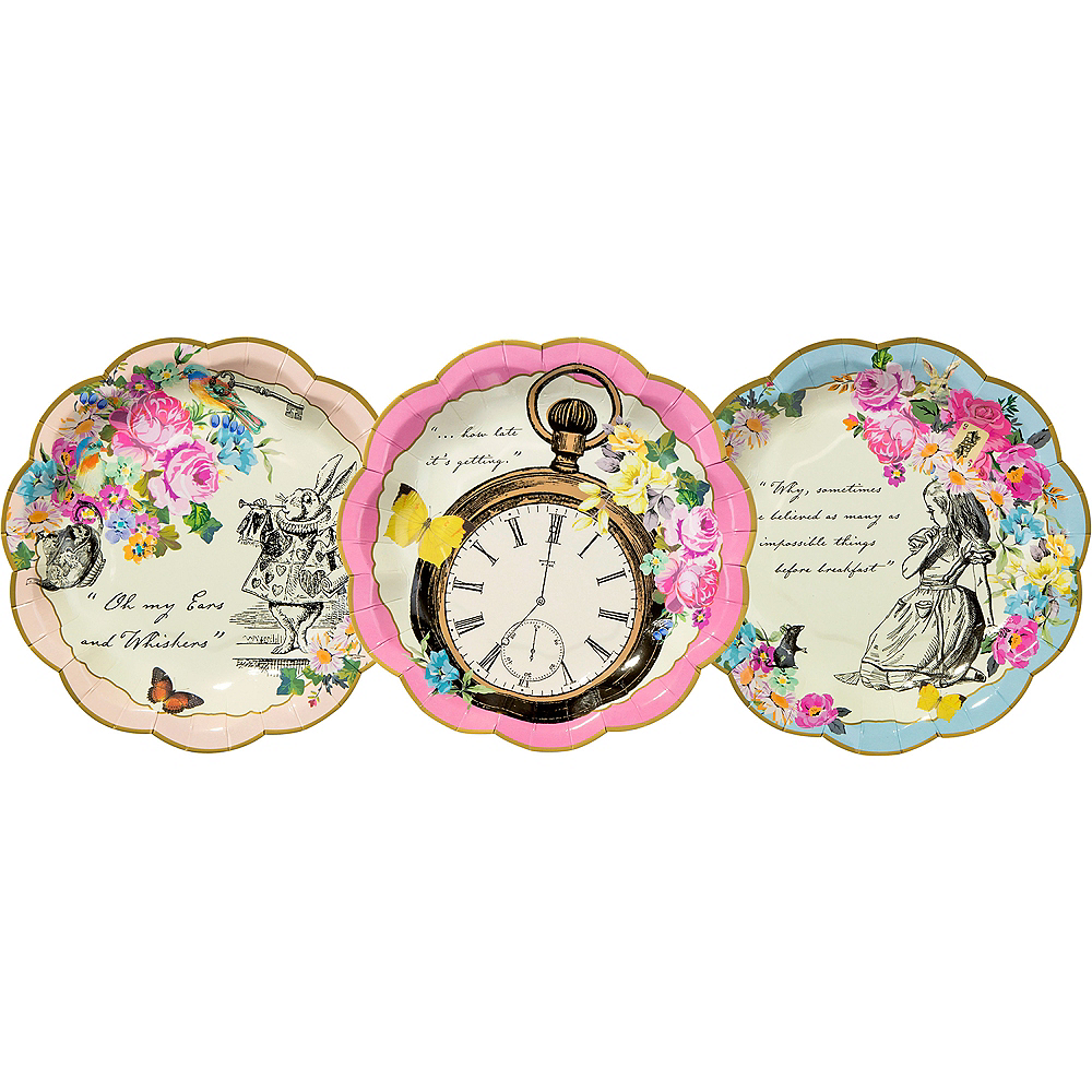 Alice in Wonderland Dessert Plates 12ct Image #2