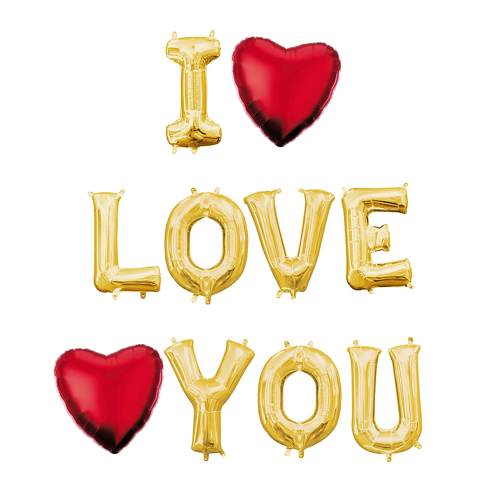 Nav Item for Air-Filled Gold I Love You Letter Balloon Kit Image #1