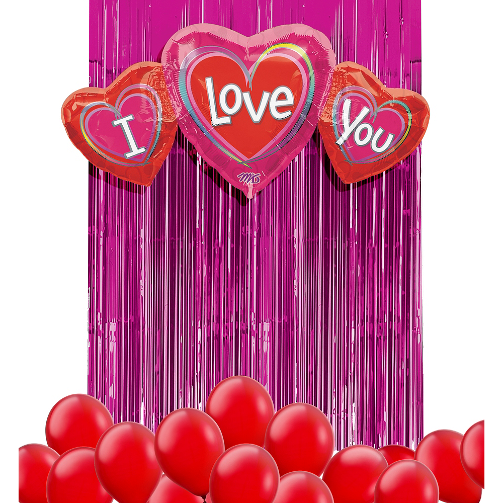 Red I Love You Balloon Backdrop Kit Image #1