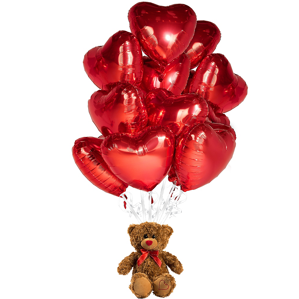 Red Heart Balloons & Brown Teddy Bear Plush Kit Image #1