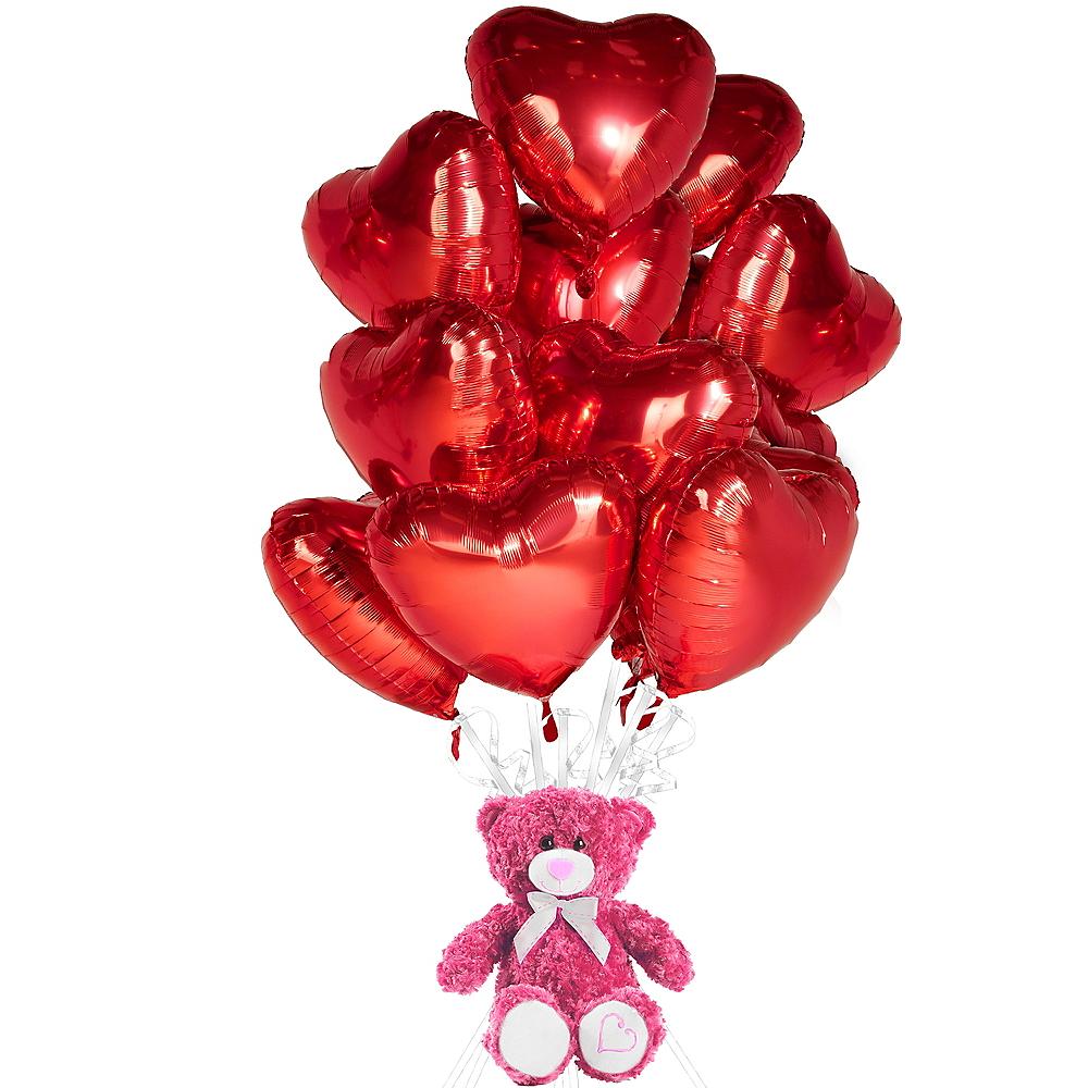 Red Heart Balloons & Pink Teddy Bear Plush Kit Image #1