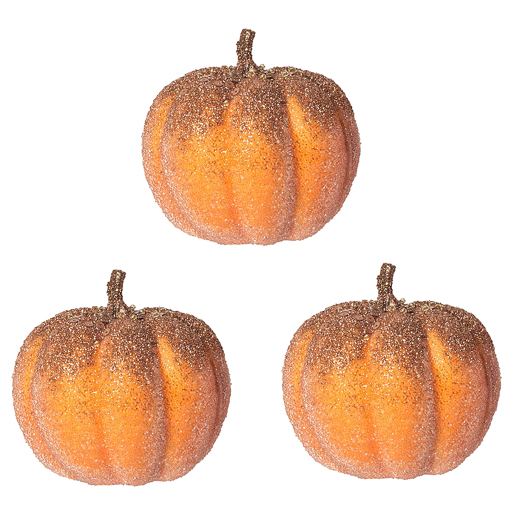 Glitter Gold Topped Pumpkins 3ct Image #1