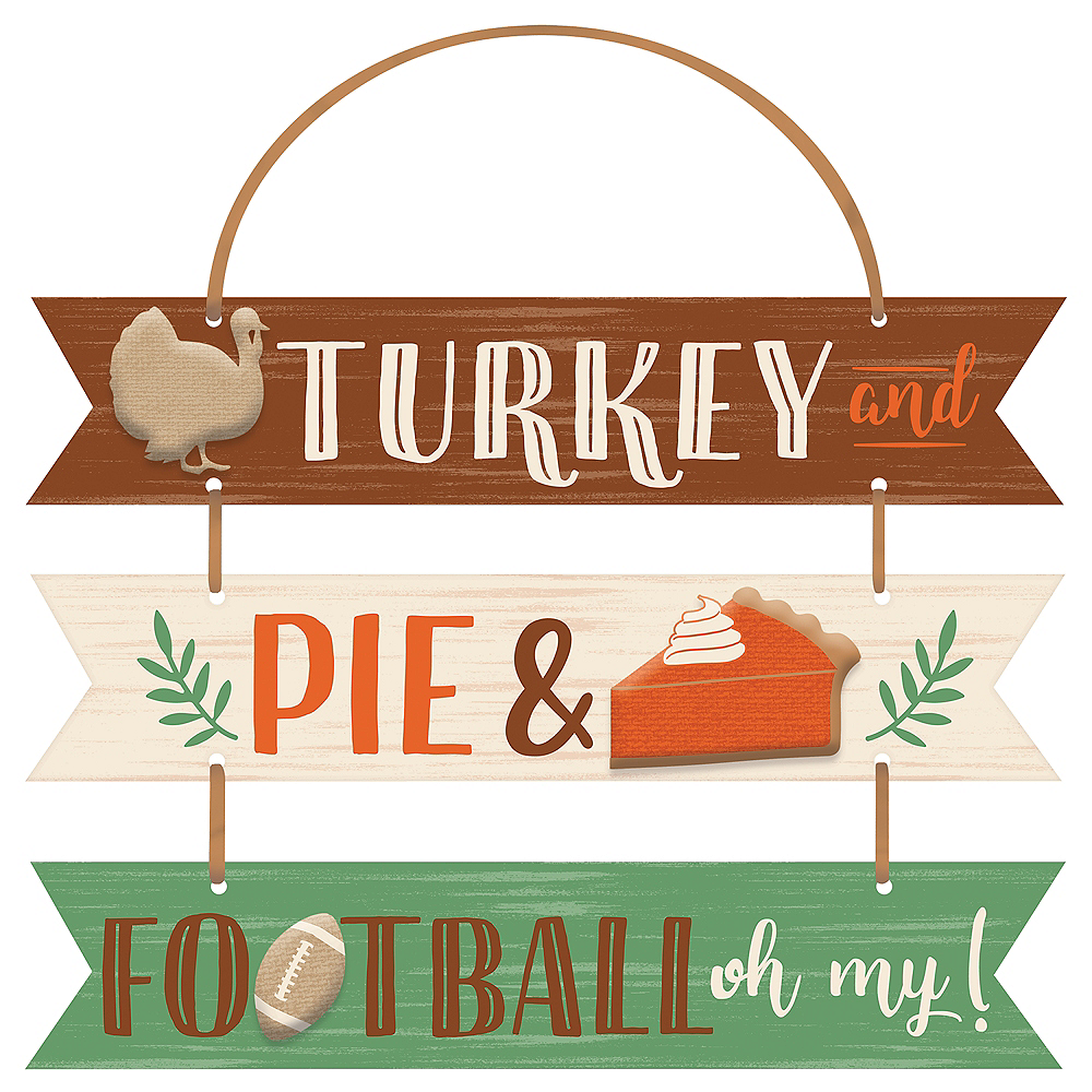 Turkey, Pie & Football Stacked Sign Image #1