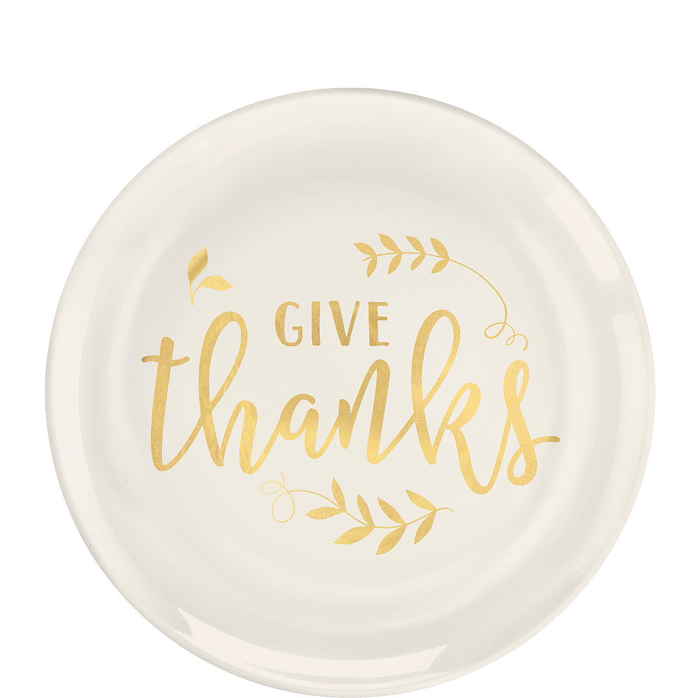 Give Thanks Premium Plastic Dessert Plates 20ct Image #1