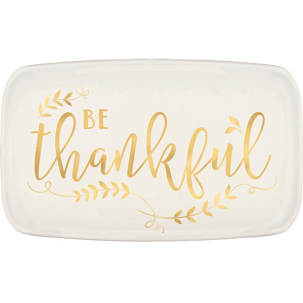 Metallic Gold Be Thankful Plastic Rectangular Platter Image #1