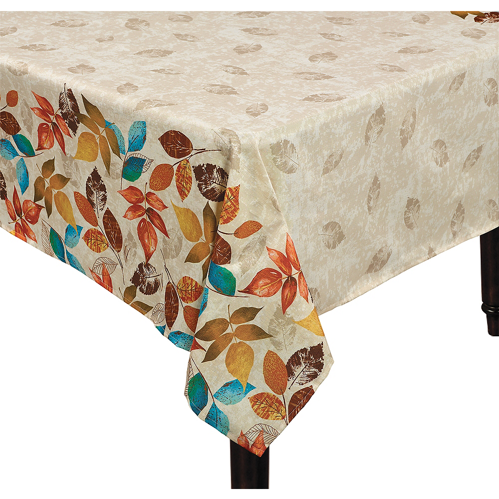 Falling Leaves Fabric Tablecloth Image #1