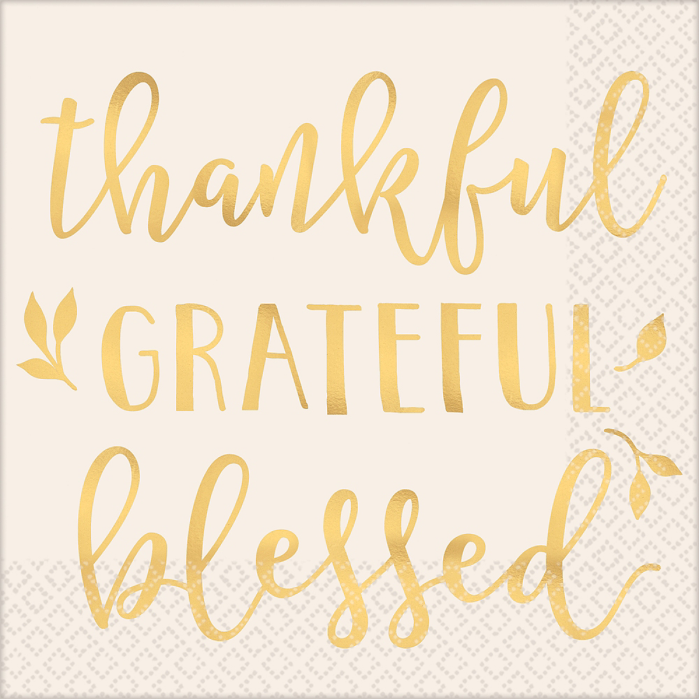 Thankful Grateful Blessed Lunch Napkin 16ct Image #1