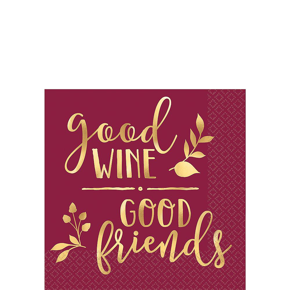 Metallic Gold Good Wine Good Friends Beverage Napkins 16ct Image #1