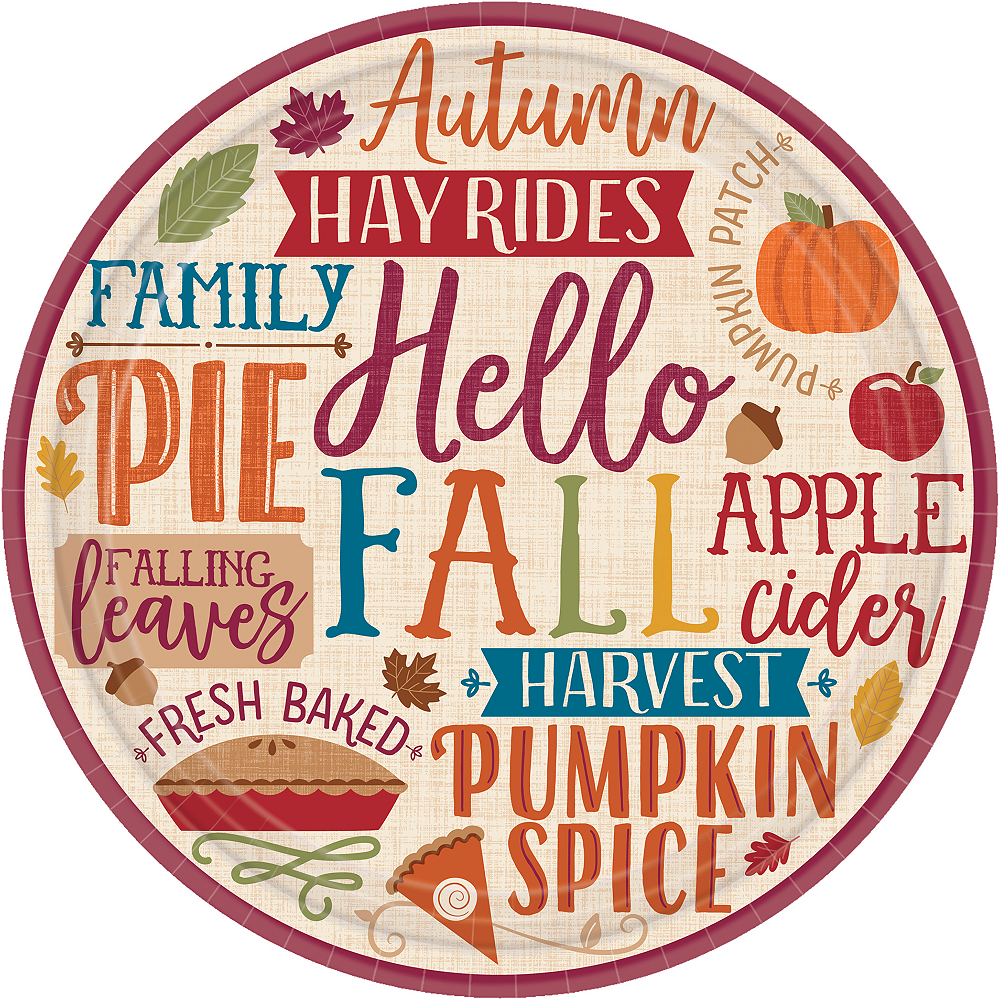 Fall Phrases Dinner Plates 8ct Party City