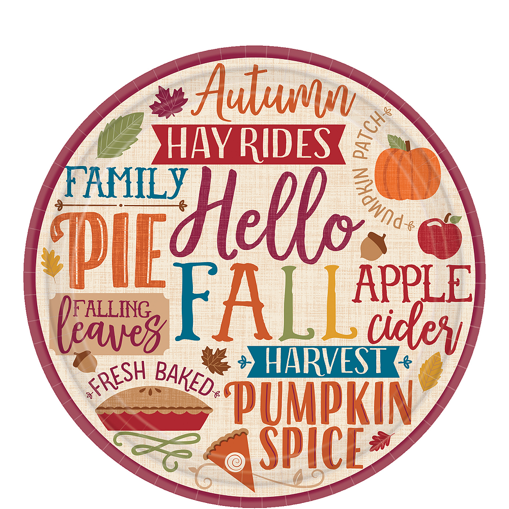 Fall Phrases Dessert Plates 8ct Image #1