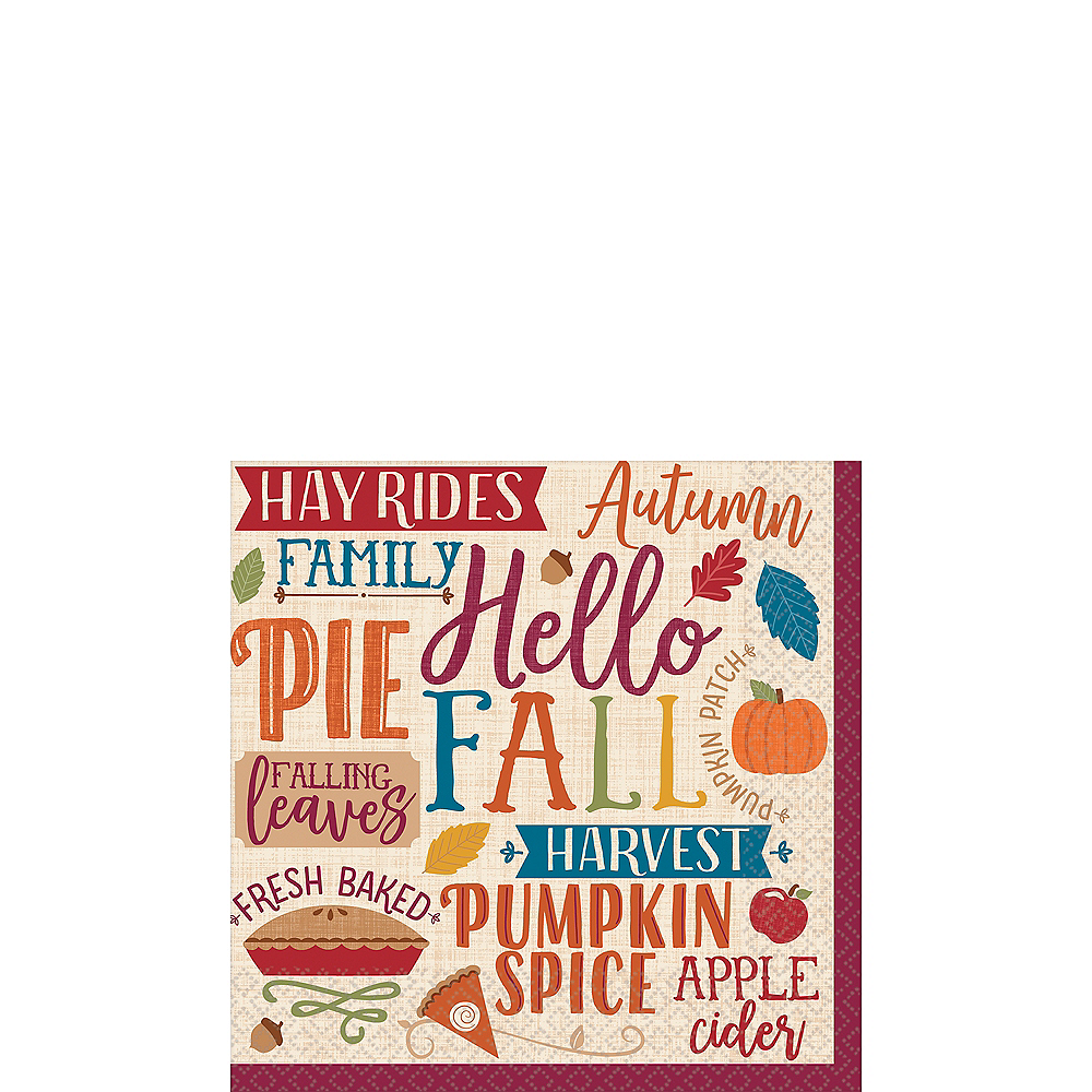 Nav Item for Fall Phrases Beverage Napkins 16ct Image #1