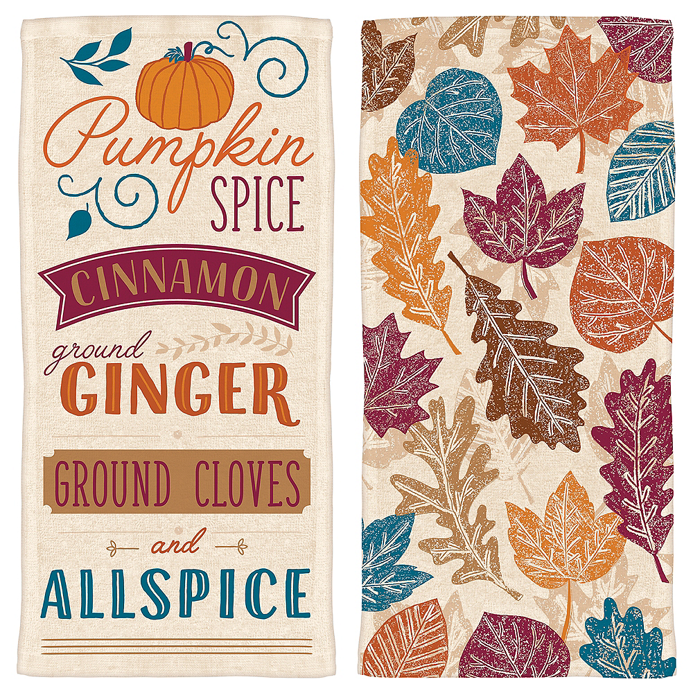 Fall Leaves & Spices Kitchen Towels 2ct Image #1