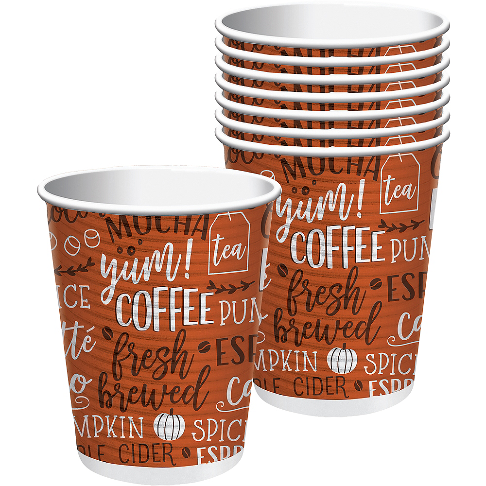 Pumpkin Spice Coffee Cups with Lids 8ct Image #1
