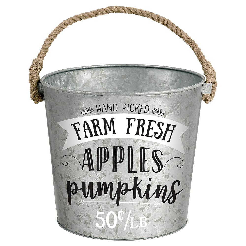 Fresh Apples & Pumpkins Galvanized Bucket Image #1