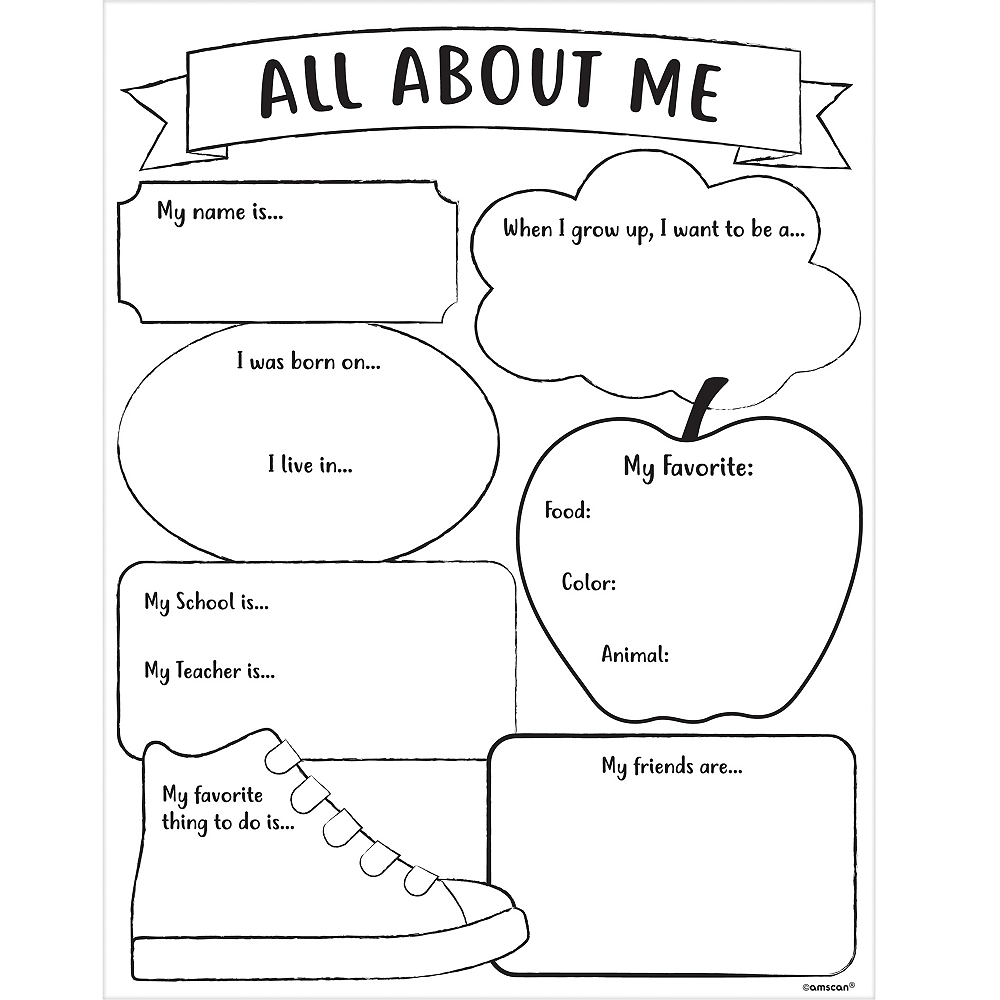Shocking image within all about me printable worksheets