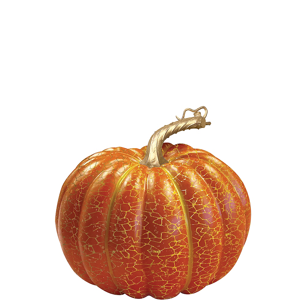Orange Crackle Pumpkin Decoration Image #1