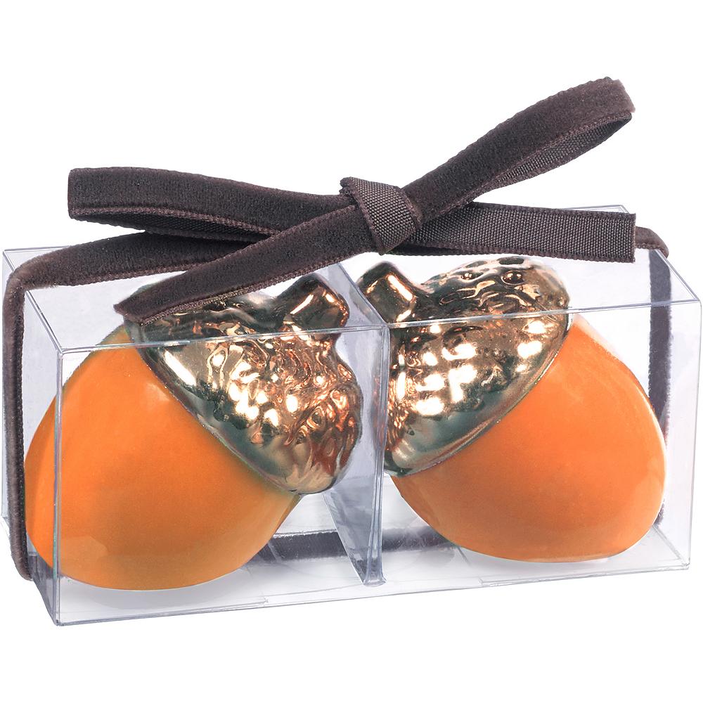 Metallic Bronze & Orange Acorn Salt & Pepper Shakers Image #2