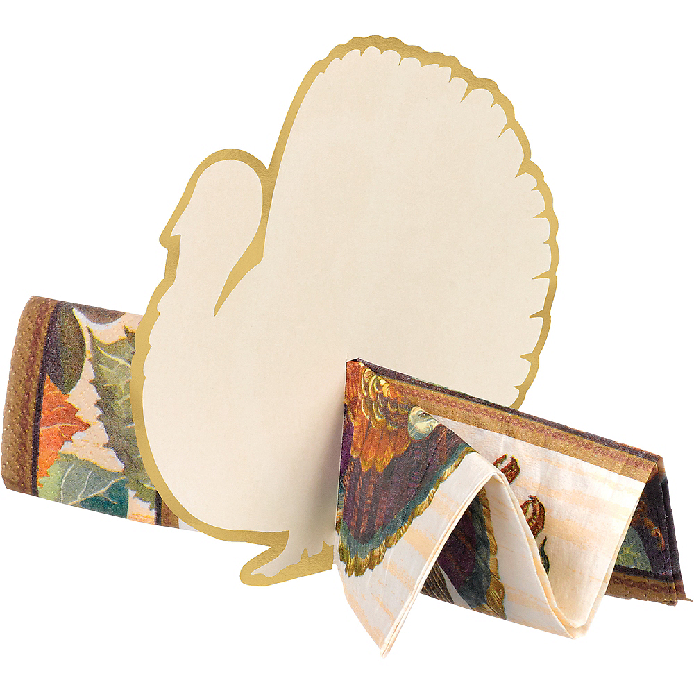 Thanksgiving Turkey Place Card Napkin Holders 12ct Image #1