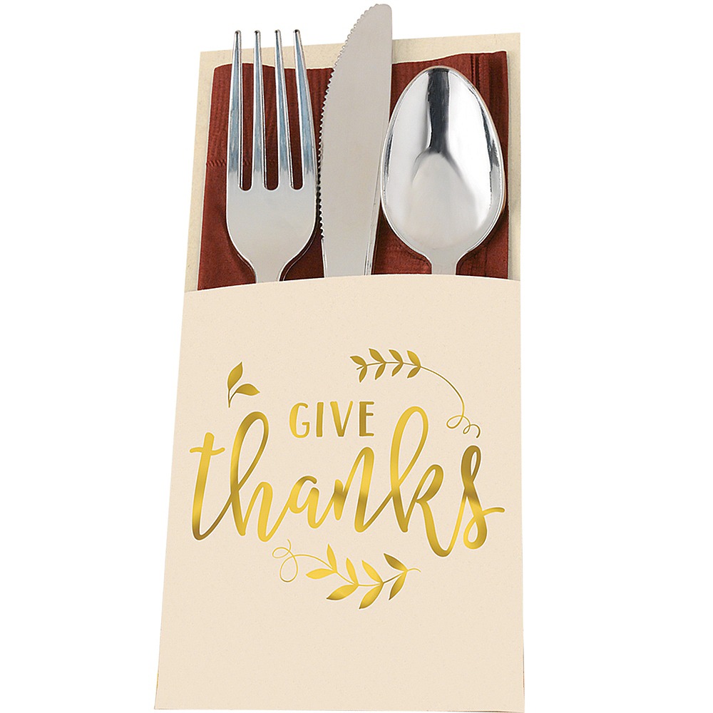 Give Thanks Thanksgiving Cutlery Holders 12ct Image #1