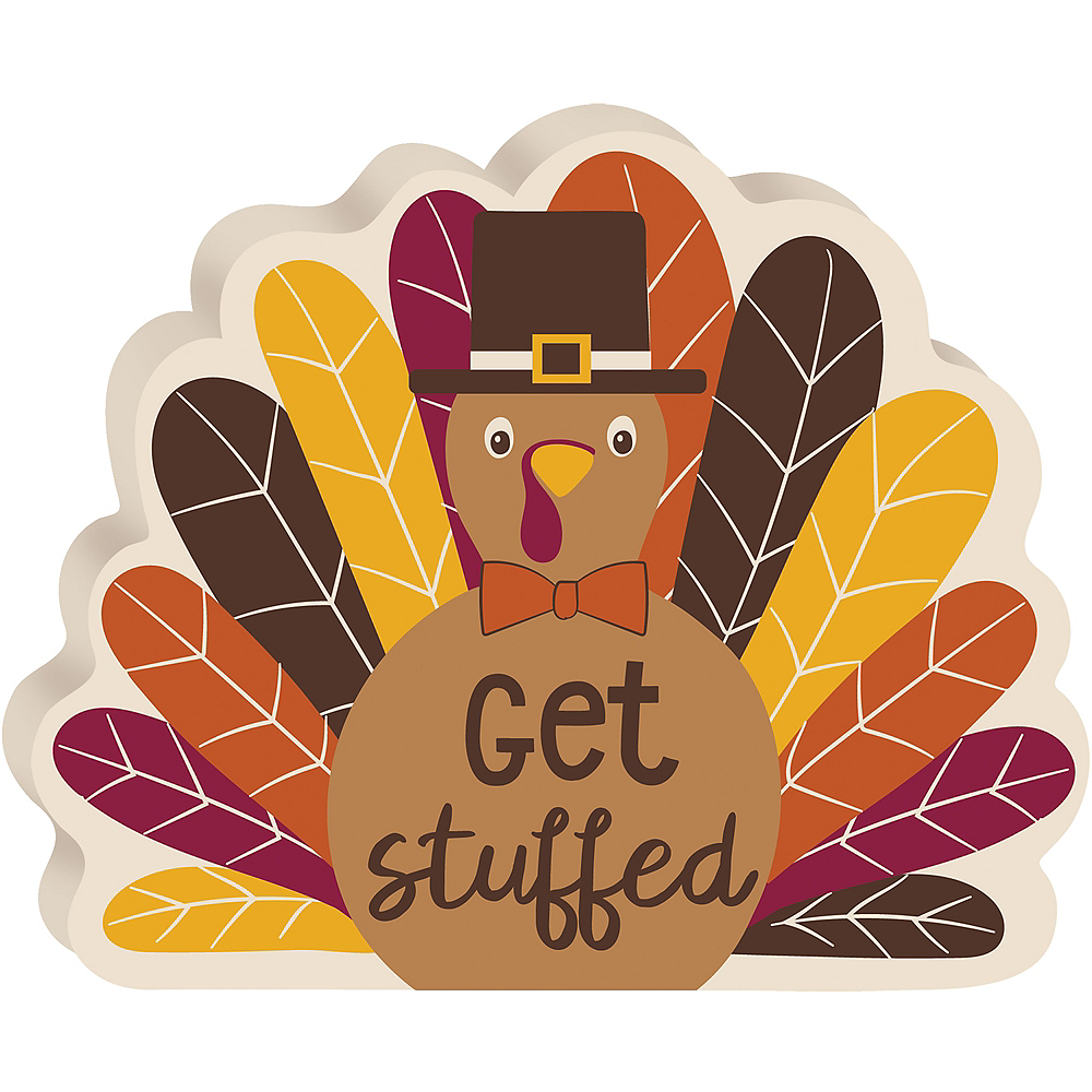 get stuffed turkey thanksgiving sign 6in x 4 3 4in party city canada