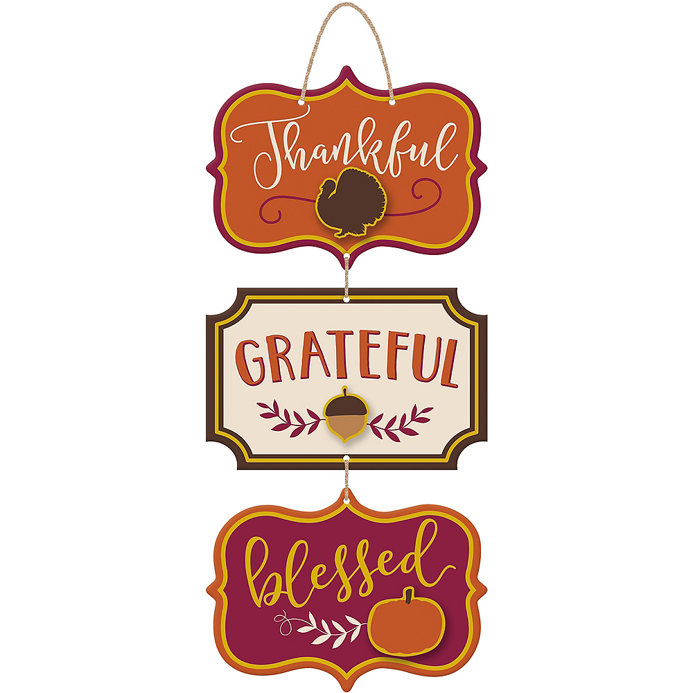 Thanksgiving Stacked Sign 8in X 18in Party City