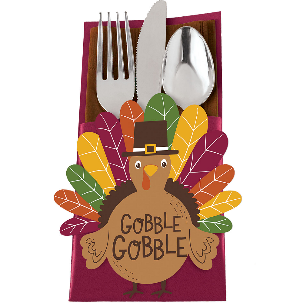 Gobble Gobble Thanksgiving Cutlery Holders 12ct Image #1