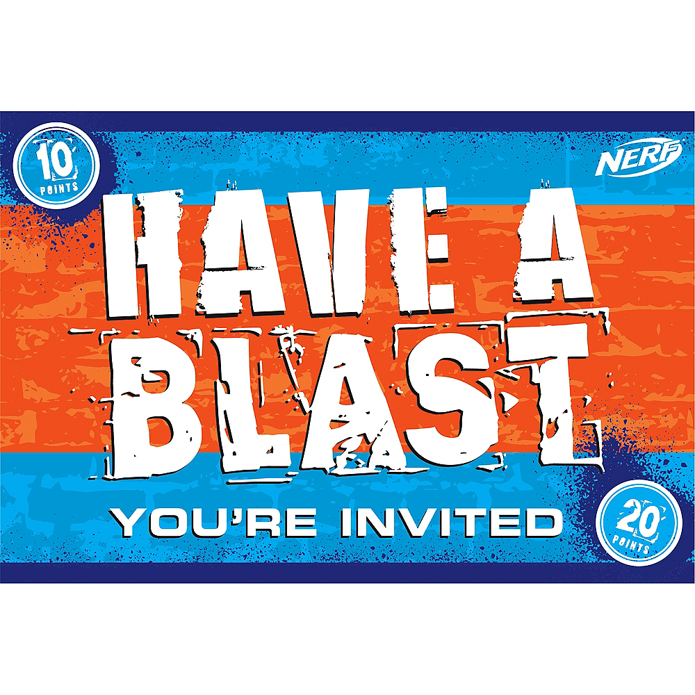 Nerf Invitations 8ct Party City
