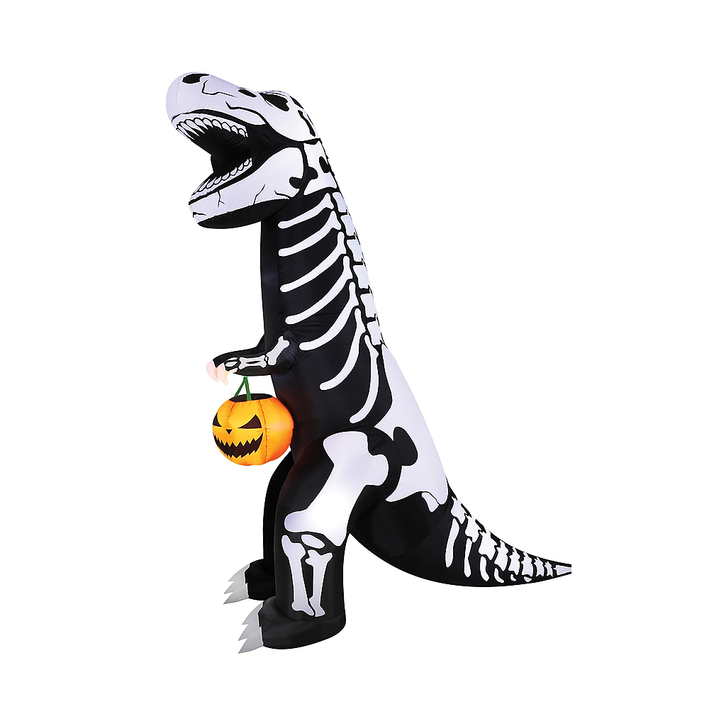Light Up Inflatable Skeleton T Rex 7ft Party City