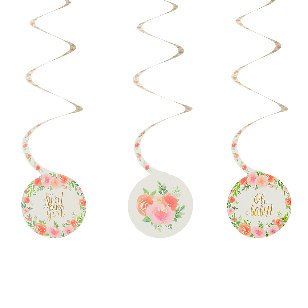 Floral Baby Swirl Decorations 12ct Party City